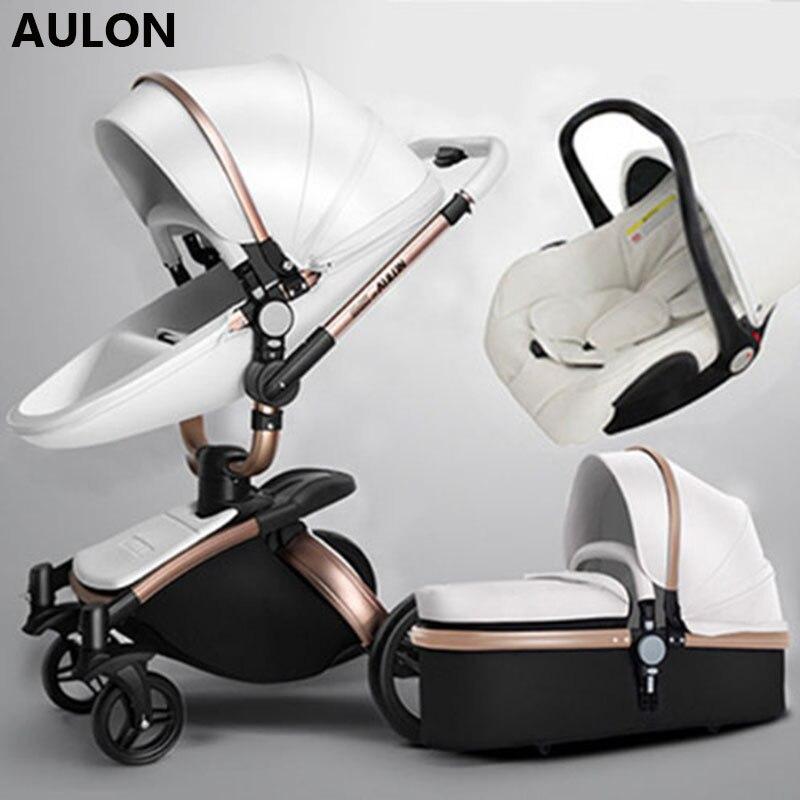 Cochecito de bebé Aulon 3 en 1 cochecito de bebé cuero pu puede sentarse y descansar cuatro estaciones invierno Rusia envío gratis