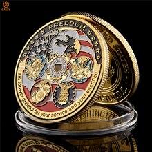США ВМС USAF USMC армия Береговая охрана Американский свободный орел тотем Золотая военная медаль вызов коллекция монет