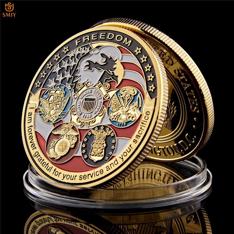 USA Navy USAF USMC ทหารยาม American Eagle Totem Gold ทหารเหรียญท้าทายเหรียญ