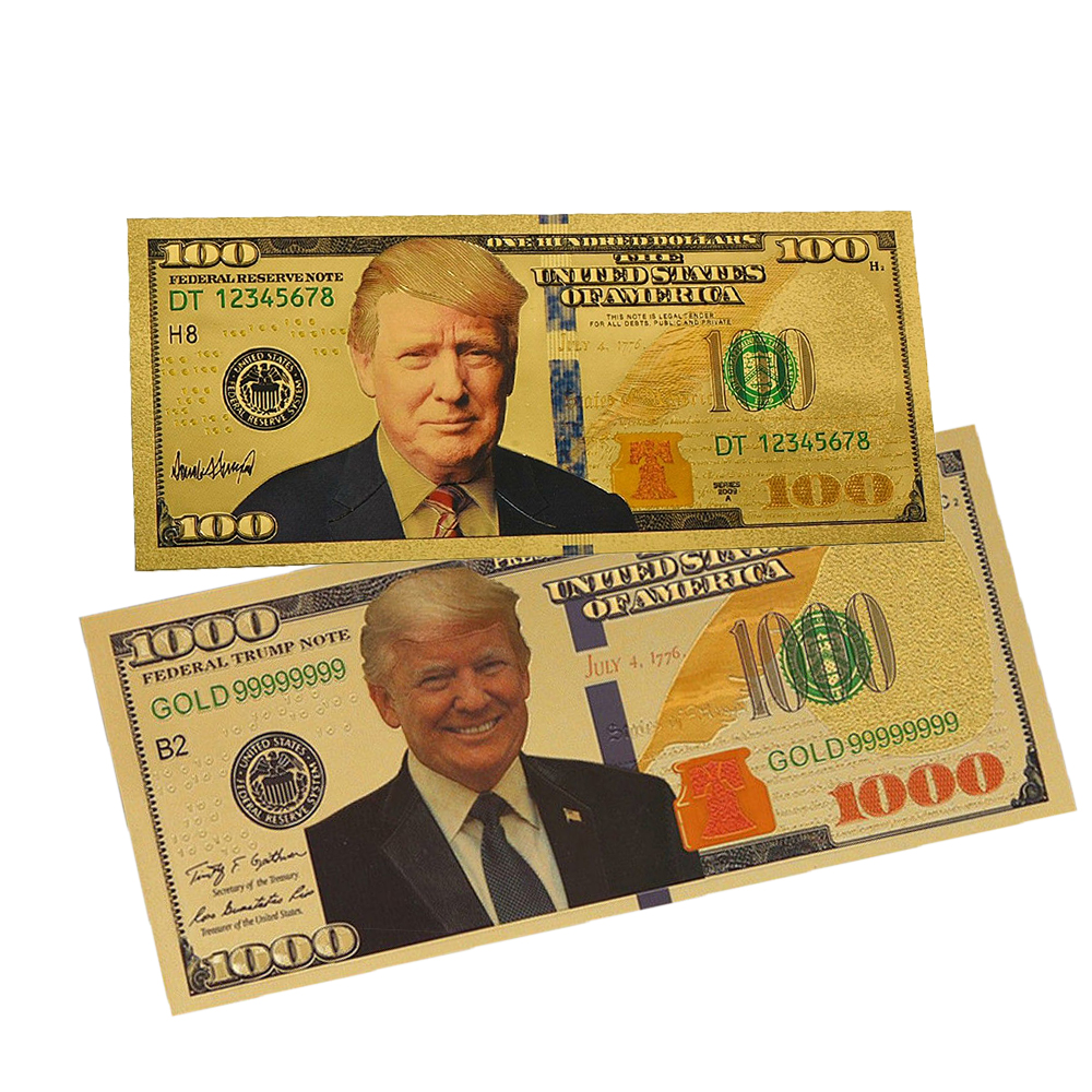 One USD $1000 President Trump Banknote 24k Gold Foil New Paper Money Dollar Bill