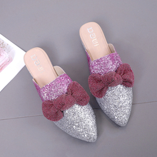 Spring Bowknot Mules Shoes Women Shoes Female Shoes Woman Luxury Slippers Silver Pink Outdoor Slippers chaussons femme