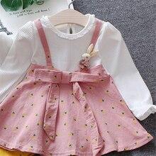 23749ee366b7b 2019 لطيف أرنب المملكة المتحدة الخريف الطفل الفتيات الملابس اللباس الاطفال  فتاة ملابس طويلة الأكمام الرضع فساتين 0-2 Y