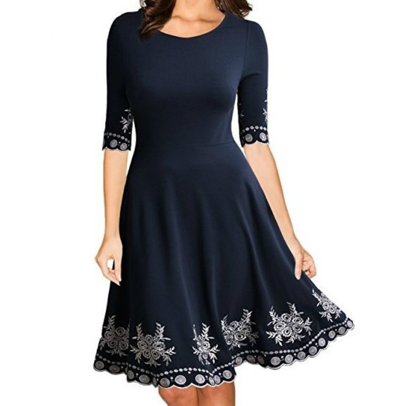 Spring Summer O Neck Sexy Print Dresses A Line Half Sleeve Solid Women Dress Plus Size in Dresses from Women 39 s Clothing