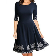 цена на Spring Summer  O-Neck Sexy Print Dresses A-Line Half Sleeve Solid Women Dress Plus Size