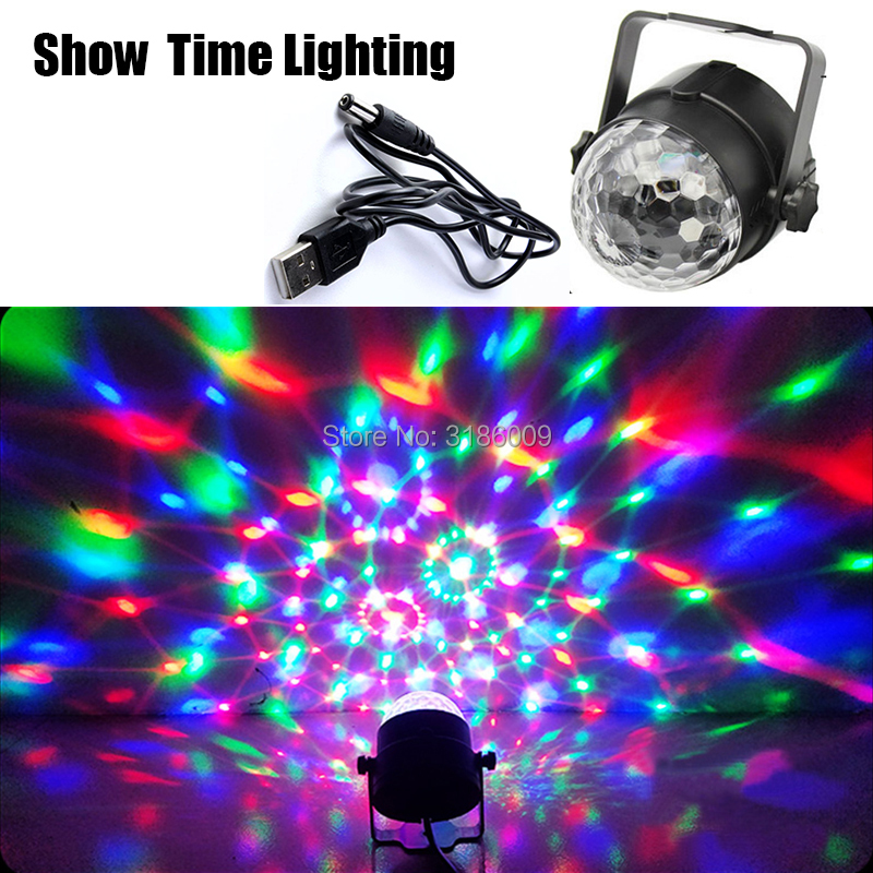 Hot Sale Sound Activated Rotating Disco Ball Party Lights Strobe Light 3W RGB LED Stage Lights For Christmas Home KTV Xmas Wedd