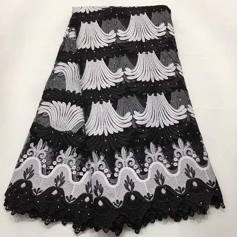 Voile suizo cordones tela africana de encaje blanco y negro Nigeria francés tela de encaje de alta calidad 2019 tul Africana tela de encaje-in encaje from Hogar y Mascotas    1