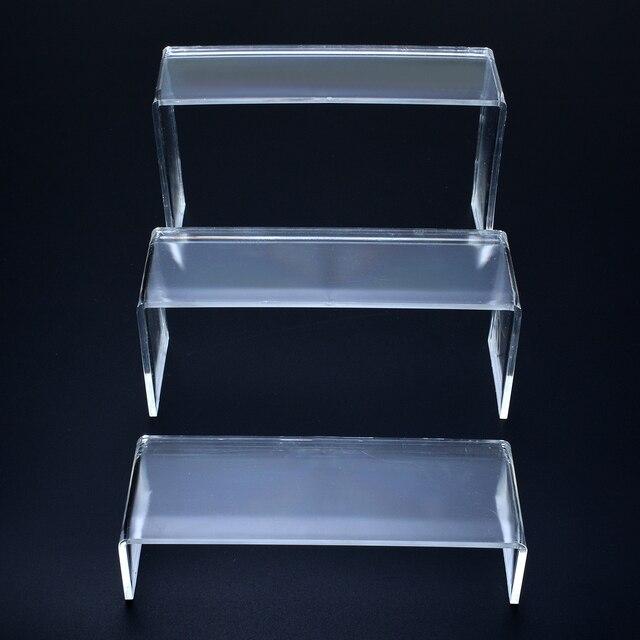 Présentoir acrylique transparent à 3 niveaux | Pour chaussures, présentoir de rangement de bijoux, cosmétiques, chaussures, support organisateur, fournitures de maison de bureau