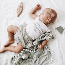 Мягкое детское муслиновое Пеленальное Одеяло с помпонами, Пеленальное Одеяло для новорожденных