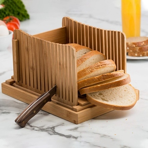 Image 2 - Bamboo Bread Slicer Cutting Guide   Wood Bread Cutter For Homemade Bread, Loaf Cakes, Bagels Foldable And Compact With Crumbs