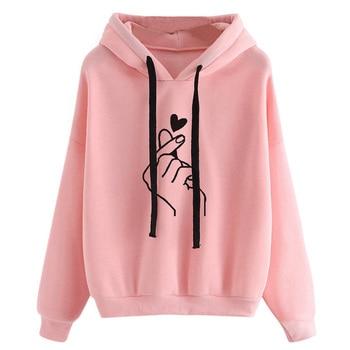 Harajuku Women's Sweatshirt and Hoody Ladies Oversize K Pop Yellow Pink Love Heart Finger  Hood Casual Hoodies for Women Girls