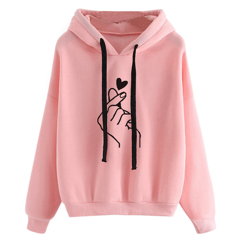 Harajuku Women's Sweatshirt and Hoody Ladies Oversize <font><b>K</b></font> <font><b>Pop</b></font> Tracksuit Pink Love Heart Finger Hood Casual Hoodies for Women Girls image