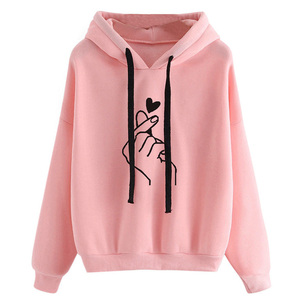 Harajuku Women's Sweatshirts and Hoodies Oversize Kpop Black Pink Love Finger Casual Streetwear Girls Hood Long Sleeve Tracksuit(China)