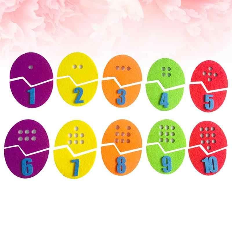 10 PCS Sentiu Pano do jardim de Infância DIY Jogando Ovos Coloridos Números Artesanal Não-tecido Saco Do Presente Brinquedos De Tecido para Roupas