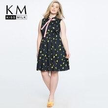 Kissmilk Plus Size Fun Banana Print Academy Style Pleated Sleeveless Dress