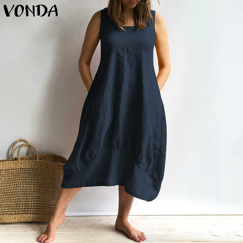 Women Dress 2019 VONDA Summer Sexy Sleeveless Square Neck Mid Calf Cotton Dresses Casual Loose Vintage Plus Size Vestidos