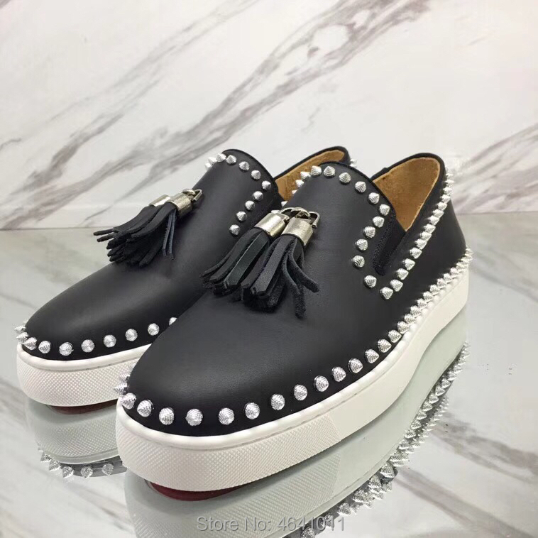 Low Cut Leisure Pendant cl andgz Slip On Black Tassel One circle Rivets Red bottom shoes