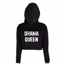 2019 New Spring DRAMA QUEEN Print Funny Autumn Crop Sweatshirt Women Hoodies Cotton Pullover Tumblr цена и фото