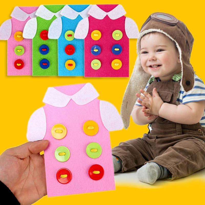 Kids Montessori Educational Toys Children Wooden Beads Lacing Board Toys Toddler Sew On Buttons Early Education Teaching Puzzle