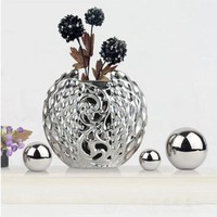 High Quarity Electroplating Ceramic Vase With Flowers Ornaments Crafts Artwork Den Table Decorations Tv Desk Accessories Crafts