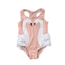 Baby Kids Girl Swimwear 2018 New Toddler One-piece Swimsuit Swimwear Bathing Swan Print Swim Beachwear Swimming Suit For Girls недорого