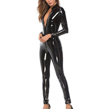 Women Jumpsuit Wet-look Zipper Patent Leather Sexy Black Jumpsuit