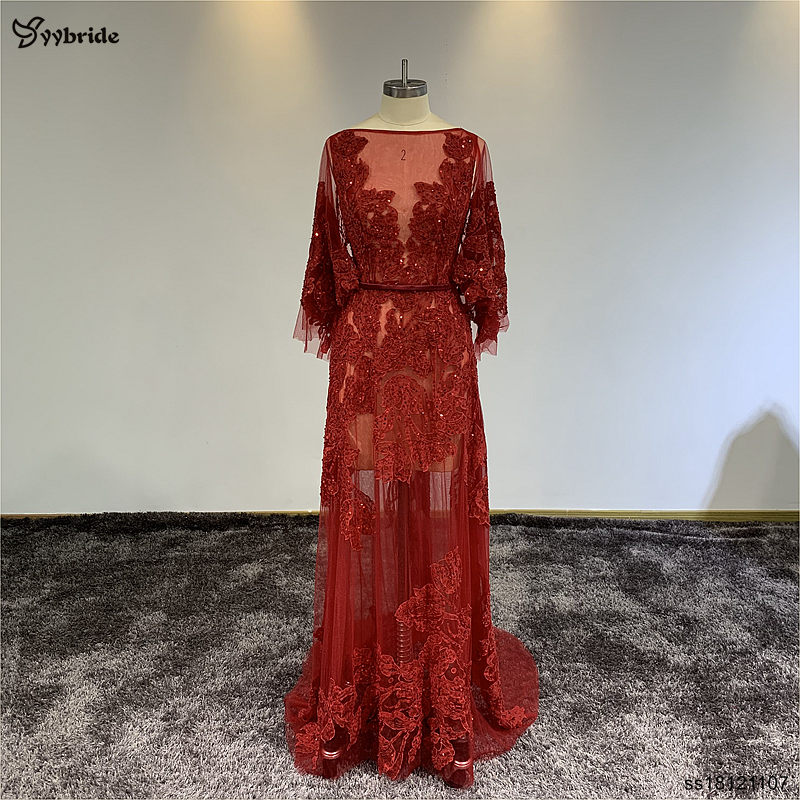 YYbride Special Offer Cheap Price Stock Sample Boat Red Lace Beading Crystals Prom Dresses Illusion Backless Celebrity Dresses