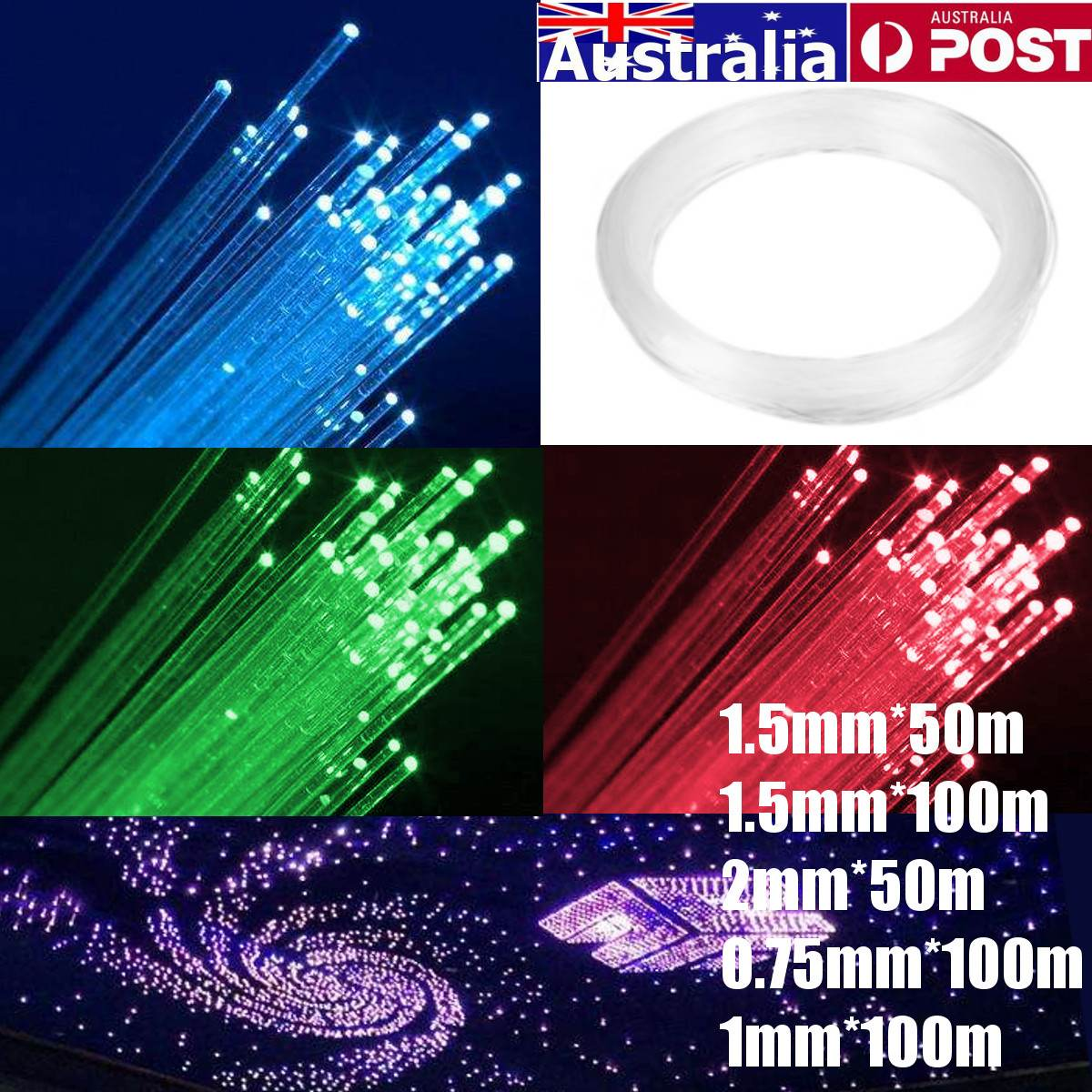 0.75mm/<font><b>1mm</b></font>/1.5mm/2mm PMMA Clear Optic Cable Fiber Light End Grow <font><b>LED</b></font> Light Guide Kit DIY Holiday Festival Commercial Lighting image