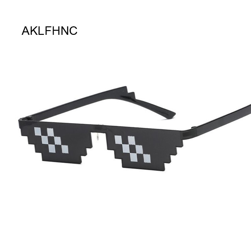 Mosaic Sunglasses Trick Toy Thug Life Glasses Deal With It Glasses Pixel Women Men Black Mosaic Sunglasses Funny Toy image