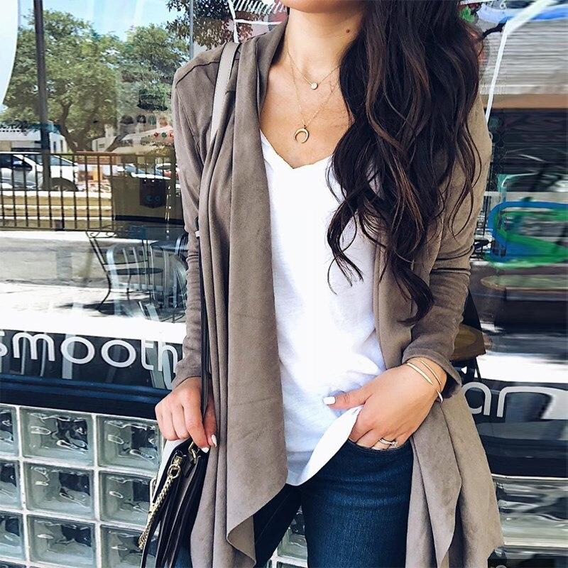 Female Biker Bomber   Suede   Faux   Leather   Jackets Pockets Fashion Autumn Women Streetwear Asymmetrical Lapel Coats Tops