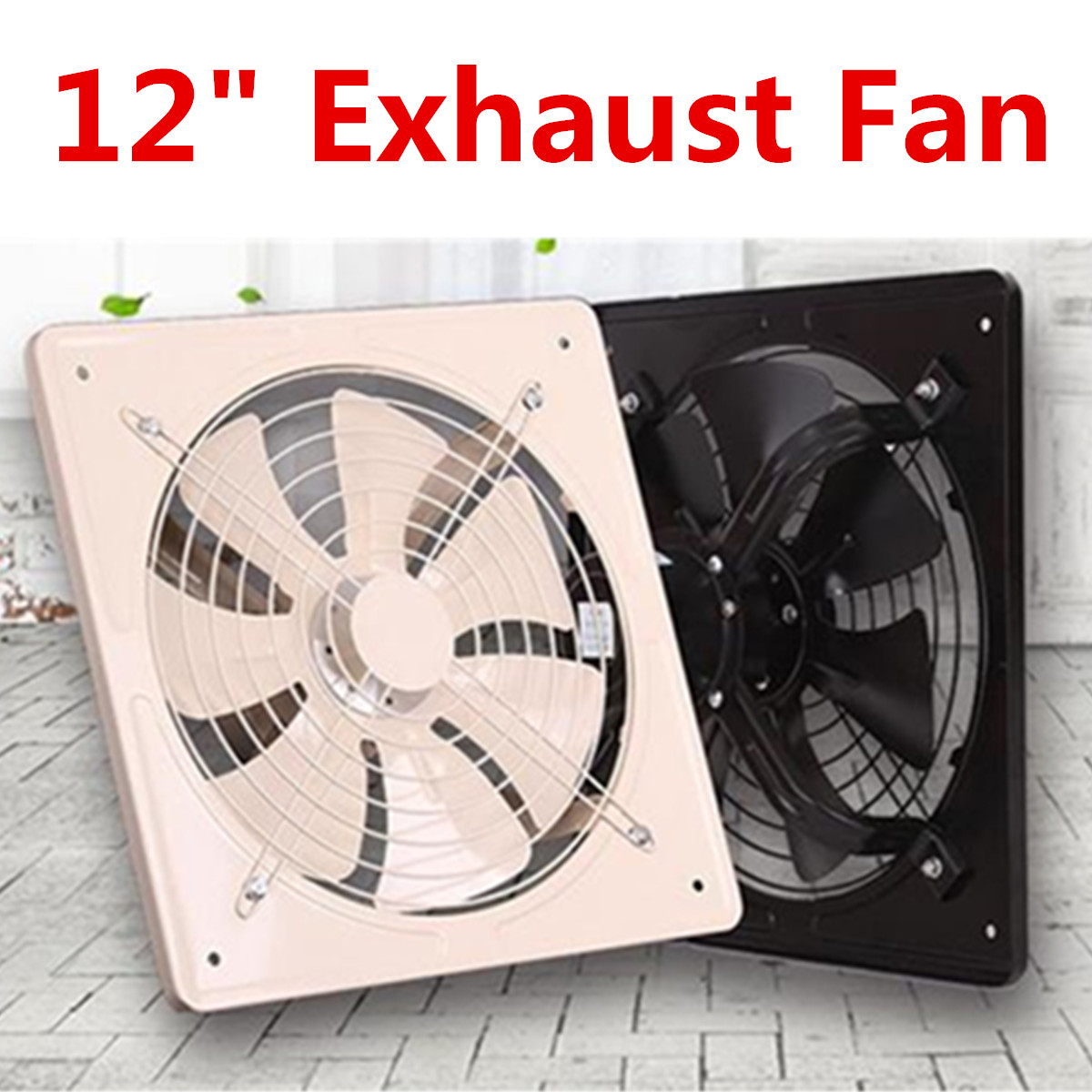 Black 12 Inch Exhaust Fan High Speed Air Extractor Window Ventilation Fan For Kitchen Ventilator Axial Industrial Wall Fan 220V