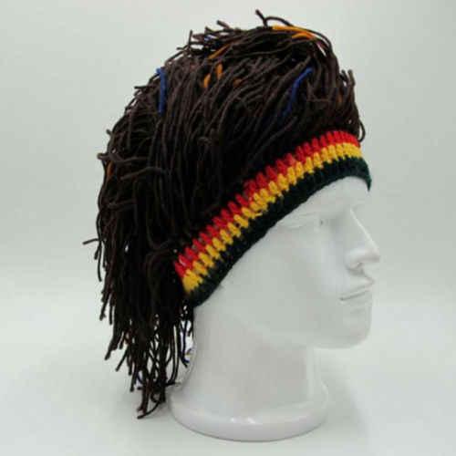 f9814f5be3d ... 2019 New Reggae Dreadlocks Unisex Jamaican Knitted Beanies Wig Braid Hat  Rasta Hair Hat Hot Sale