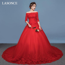 LASONCE Red Lace Appliques Chapel Train Ball Gown Wedding Dresses Boat Neck Illusion Half Sleeve Bridal Dress