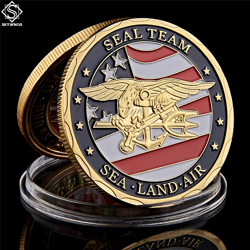 Moeda de lembrança banhada a ouro, moeda dos eua, terra do mar, equipe de selo, desafio, departamento de moedas da marinheiro, moeda militar