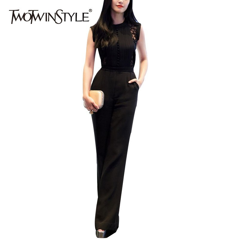 TWOTWINSTYLE Solid Hollow Out Women   Jumpsuit   O Neck Short Sleeve High Waist Bowknot Slim Pants Female Fashion New Spring 2019