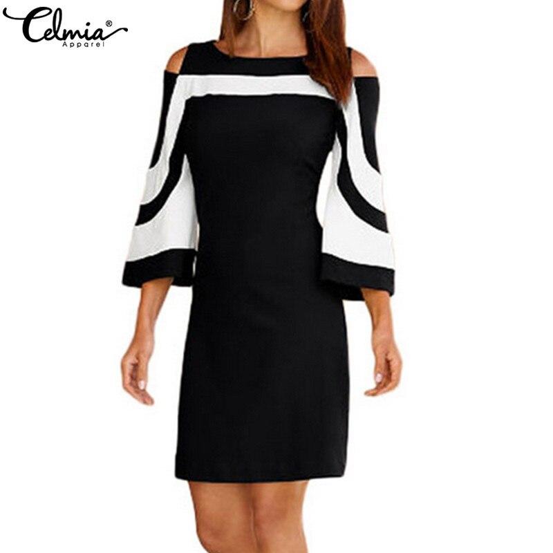 Celmia женское платье большого размера 2019 элегантный черный, белый цвет Colorblock 3/4 рукавом повседневное Летние Платья офисные женские туфли Vestidos