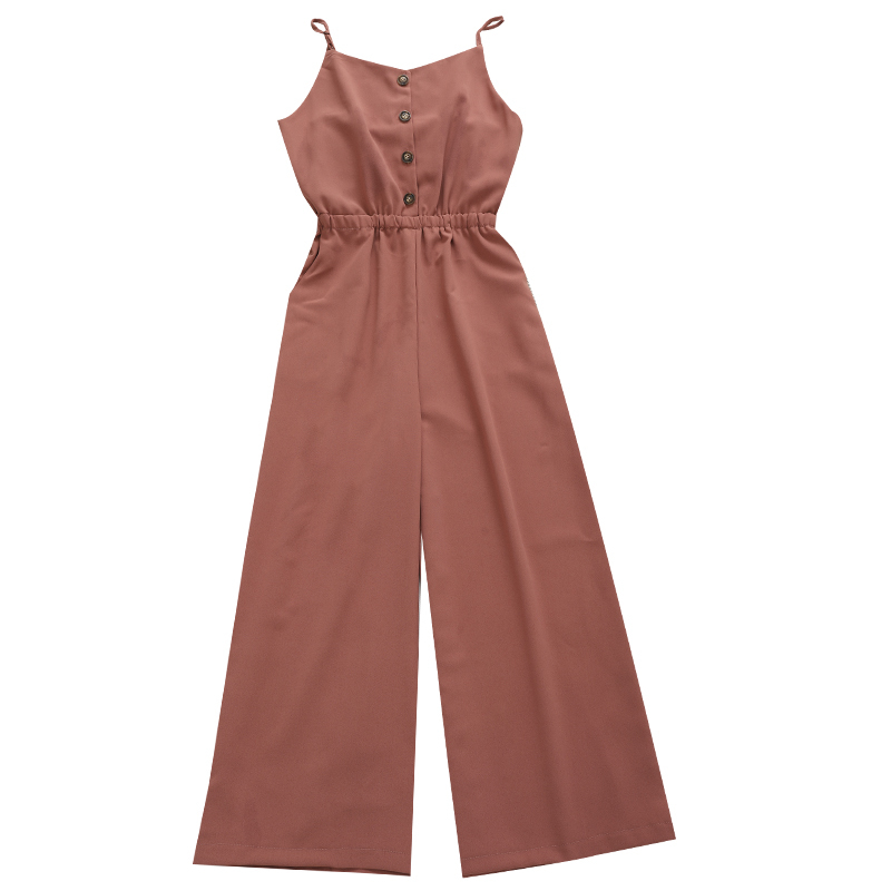 Solid Chiffon High Waist Jumpsuit Women Camisole Wide Leg Pants Female Red Blue Beach Pants Overall Casual Sexy Wear Playsuit 13
