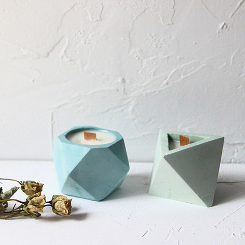 Geometric Shaped Concrete Mold For Flower Pot Prismatic Aroma Candle Silicone Mold Succulent Plant Pot Clay Ashtray Mold