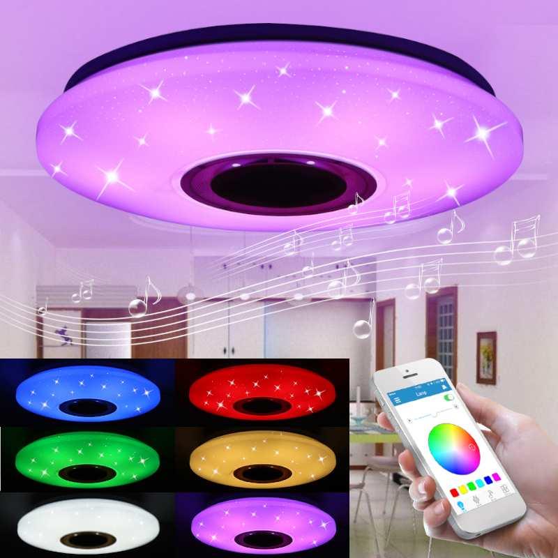 Современная музыка потолочный светильник приложение управление 48 Вт 102 Led RGB затемнения AC85-265V для дома детей Bluetooth динамик освещение
