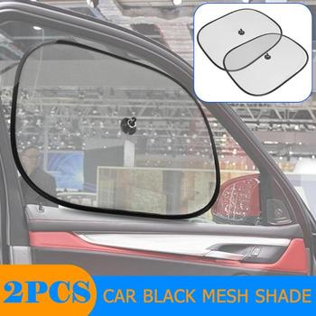 2pcs Car Sun Shade Front Rear UV Protection Car Curtain Window Sunshade Side Window Mesh Sun Visor Summer Protection Window Film image
