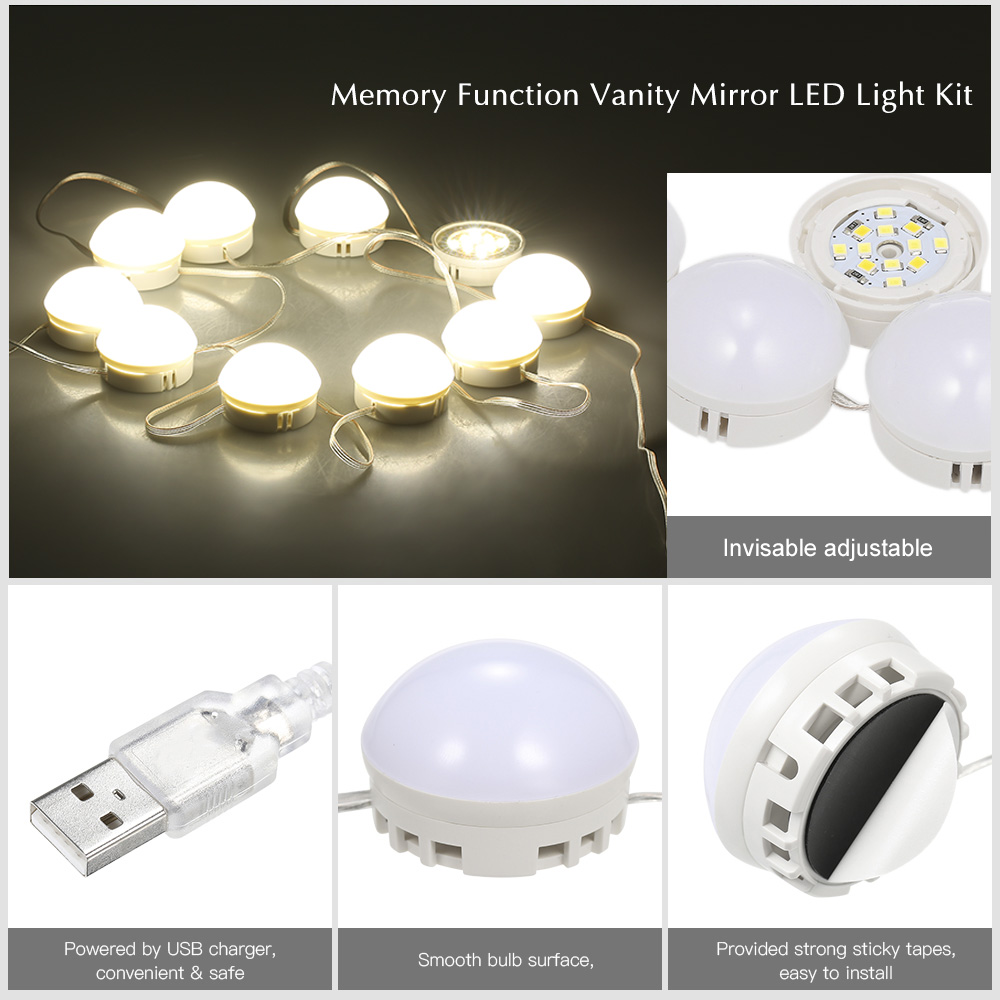 Aliexpress.com : Buy 10 LED Vanity Mirror Lights Kit with ...