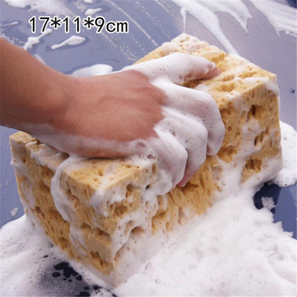 1pc Coral Sponge Macroporous Car Auto Washing Cleaning Sponge Block Honeycomb Car Cleaning Cloth Yellow Car Cleaner Tools