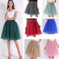 b99b0f7c94 7 Layers Midi Tulle Skirt For Girls Fashion Tutu Skirts Women Ball Gown  Party Petticoat Faldas