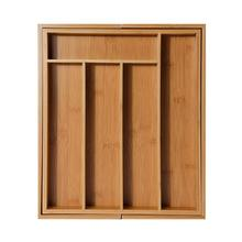 5 Grid Expandable Cutlery Bamboo Drawer Organizer Cutlery Tray Kitchen Multi-Functional Drawer Cutlery Storage Box