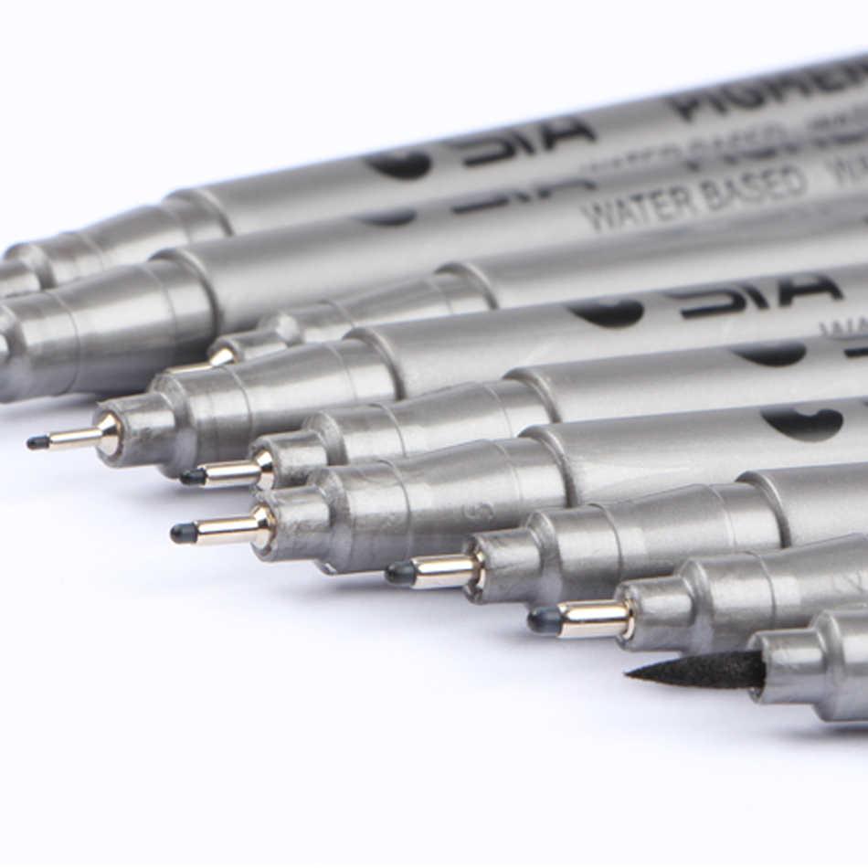 STA 9 pièces/ensemble imperméable à l'eau croquis Art marqueur stylo différentes tailles de pointe noir Pigment Liner à base d'eau pour Art fournitures papeterie