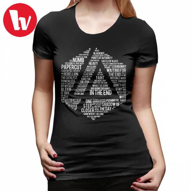 Linkin Park T-Shirt New Art Linkin Park All Name Full Album T Shirt 100  Cotton O Neck Women tshirt Kawaii Ladies Tee Shirt