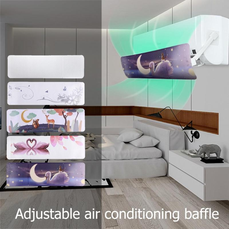 Home Air Conditioning Cover Adjustable Windshield Air Conditioning Baffle Shield Wind Guide Month Straight Anti-wind Shield