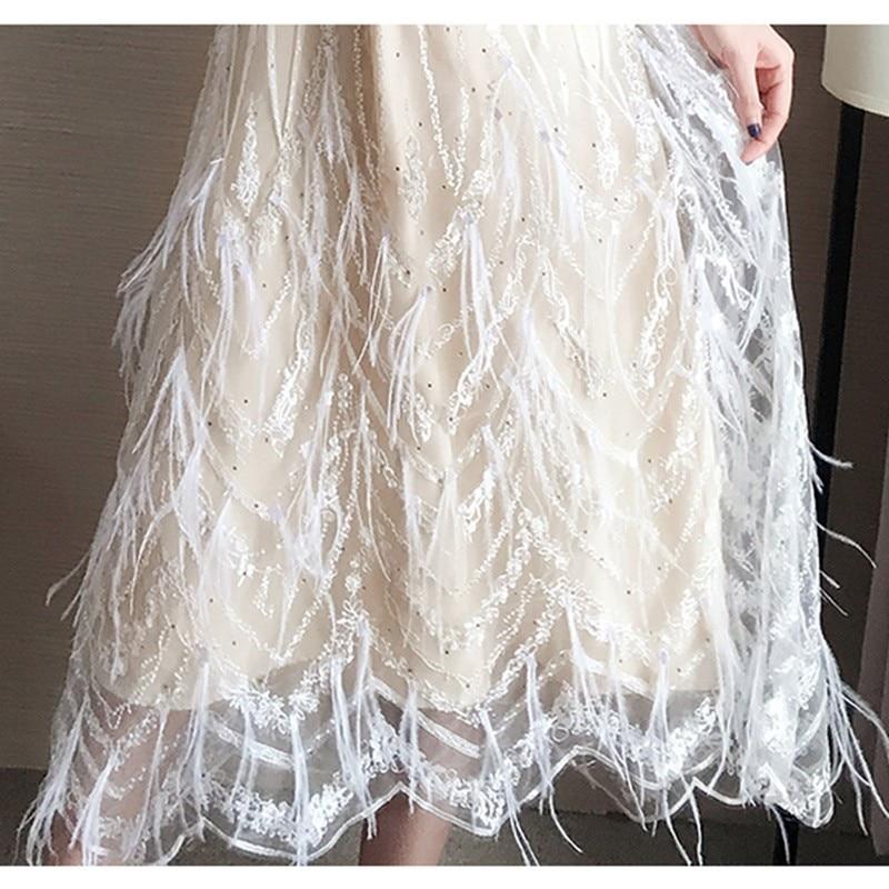 Women Sexy Slim Lace Tassel Cute Dress 2019 New Spring Summer Chiffon Elegant Very Fairy French Pop Transparent Vestidos PJ353 in Dresses from Women 39 s Clothing