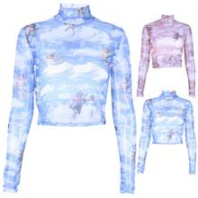 Women FashionPrint Pattern Mesh See Breathable T-Shirt Sexy Turtleneck Long Sleeve Slim See Through Crop Top Tee Shirt PartyClub(China)