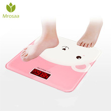 Милые Мультяшные весы для ванной, ЖК-дисплей, напольные весы для тела, стеклянные домашние электронные цифровые весы, бариатрические весы с питанием от батареи
