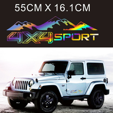 1 Pair 4X4 Mountain Style Door Body Vehicle Decal Reflective color  Decals Sticker For Jeep Wrangler